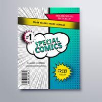 Disegno speciale del modello di copertina del libro di fumetti vettore