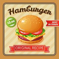 illustrazione di vettore del manifesto piatto hamburger