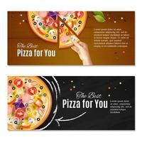 illustrazione vettoriale di banner orizzontale pizza realistica