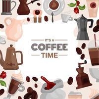 illustrazione vettoriale di cornice decorativa del tempo del caffè
