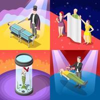 illustrazione di vettore di concetto isometrico spettacolo di magia