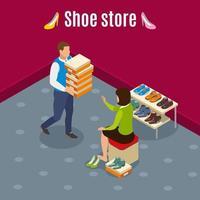 illustrazione di vettore del fondo isometrico del negozio di scarpe