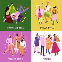 le icone di concetto di moda di strada hanno messo l & # 39; illustrazione di vettore
