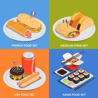 le icone di concetto del cibo di strada hanno messo l'illustrazione di vettore