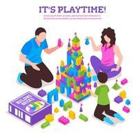 illustrazione vettoriale di poster isometrico costruttore di giocattoli