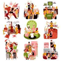 illustrazione vettoriale di club party set