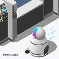 illustrazione isometrica di vettore del fondo degli hotel robotizzati