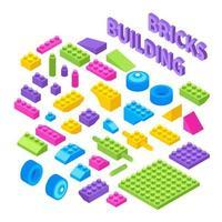 illustrazione vettoriale di blocchi isometrici costruttore di giocattoli