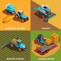 Le icone isometriche di concetto delle macchine agricole hanno messo l'illustrazione di vettore