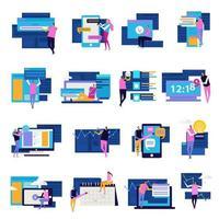 illustrazione vettoriale di persone app set di icone