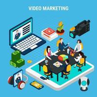 illustrazione vettoriale di composizione isometrica di video marketing