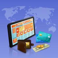 illustrazione realistica di vettore della composizione di pagamento di acquisto di Internet