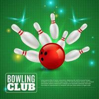 illustrazione di vettore della composizione 3d del club di bowling