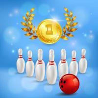 illustrazione di vettore della composizione 3d di vittoria di bowling
