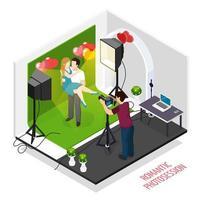 illustrazione isometrica di vettore di sessione fotografica romantica