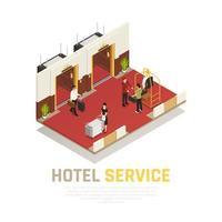 illustrazione vettoriale di composizione isometrica di servizio alberghiero