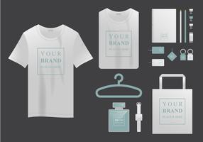 T-Shirt realistica Mock Up e Company Branding vettore