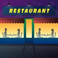 Coppie che mangiano e che parlano nell'illustrazione della caffetteria o del ristorante vettore