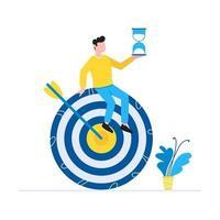efficace raggiungimento degli obiettivi gestione del tempo concetto di affari uomo seduto sul simbolo di destinazione con la freccia e tenendo la clessidra uomini d'affari carattere per banner web isolato su sfondo bianco vettore