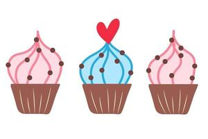 carino gustoso cupcake n doodle style vettore