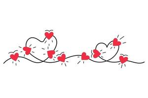 cuore luci amore doodle isolato su sfondo bianco vettore