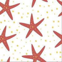 Reticolo di ripetizione senza giunte disegnato a mano con le stelle marine. trama infantile sottomarina creativa. vettore