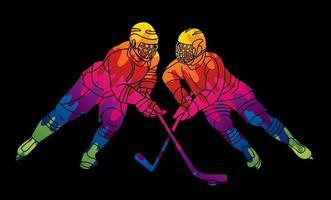 giocatori di hockey su ghiaccio combattono l'azione vettore
