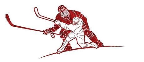 giocatori di hockey su ghiaccio di sagoma vettore