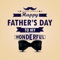 tipografia creativa della cartolina d'auguri dell'invito di giorno di padri felice con il farfallino vettore