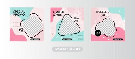 set di banner di vendita di social media vettore