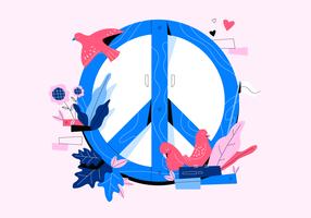 Illustrazione piana di concetto di vettore del fondo di pace e di amore