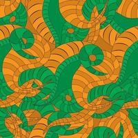 colore arancione e verde serpente cartone animato seamless pattern serpente pelle di rettile pelle di serpente vettore