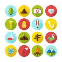 collezione di icone del campo estivo vettore