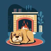 cane da compagnia che dorme accanto al caminetto vettore