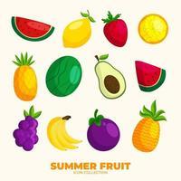 collezione di icone di frutta estiva vettore