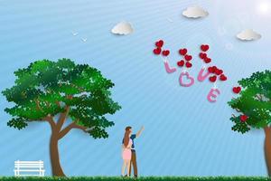 illustrazione di amore con coppia in piedi nel prato in giornata di sole vettore
