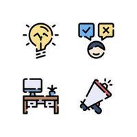 illustrazione vettoriale di idea processo decisionale ufficio megafono icona di colore lineare