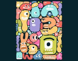 mostro colorato di blob vettore