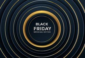 venerdì nero carta tagliata offerta speciale sfondo realistico papercut testurizzato decorazione vettore