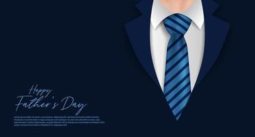 modello di banner poster felice giorno di padri con cappotto formale e cravatta cartolina di vestiti da uomo d'affari vettore
