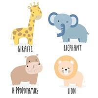 simpatico animale selvatico giraffa elefante ippopotamo e personaggio dei cartoni animati leone vettore