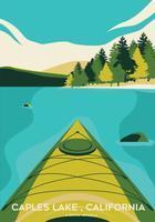 Kayaking in prima persona View su Caples Lake Vector Design