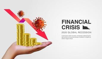 Illustrazione realistica 3d della mano che tiene le monete d'oro con freccia decrescente come segno della crisi economica nuovo modello di sfondo illustrazione vettoriale di cellule di coronavirus 2019 ncov scoppio