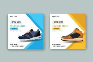 set di banner di vendita di scarpe sportive dello shopping online vettore