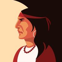 Vettore indiano del ritratto del nativo americano
