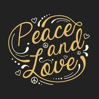Tipografia Peace And Love vettore
