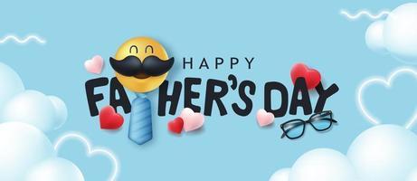 felice giorno di padri banner sfondo con smiley baffi vettore