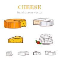 illustrazione disegnata a mano di tipi di formaggio vettore