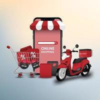 shopping online su smartphone store illustrazione vettoriale