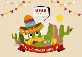 Illustrazione festiva di vettore del fondo dell'insegna di Viva Mexico